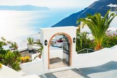 Santorini island, Greece. White architecture on Santorini island, Greece. Beautiful summer landscape, sea view Stock Photography
