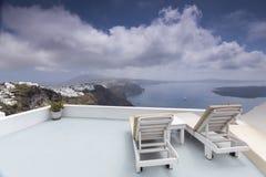 Santorini island landscape of famous Oia village, Greece Stock Photos