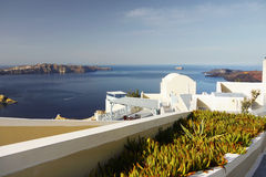 Santorini Island Landscape Greece Travel. View from the terrace on the picturesque volcanic islands. Cyclades, Santorini Island, Greece Stock Photos