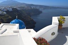 Santorini island in the mediterranean. Santorini island and the Fira city in Greece Stock Photography