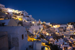 Santorini island Oia city by night stock image