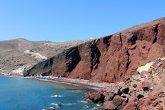 Santorini Island Red Beach Stock Images