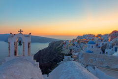 Santorini island after sunset Royalty Free Stock Photos
