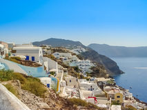 Santorini island at the sunset. A viewpoint from Oia village Royalty Free Stock Image
