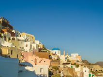 Santorini island at the sunset. A viewpoint from Oia village Royalty Free Stock Images