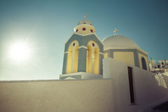Santorini  Island- typical  small church. With sunshine Stock Photography