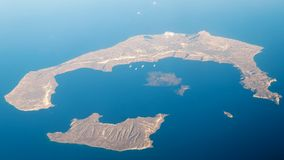 Santorini Island View. From the airplane Royalty Free Stock Photo