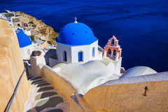 Santorini island, view with blue domes Stock Photo