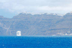 Santorini Island. View from the sea. Royalty Free Stock Photography