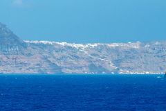 Santorini Island. View from the sea. Royalty Free Stock Image