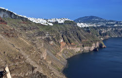 Santorini island and the volcanic caldera Royalty Free Stock Images