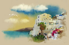 Santorini Island. Watercolor sketch. Drawing on old paper. Santorini, Greece, old postcard, watercolor sketch, vintage graphics on old paper Royalty Free Illustration