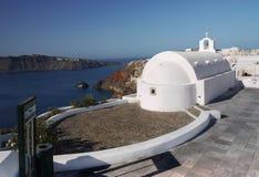 Santorini island, White Church Stock Photos