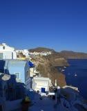 Santorini-Küstenlinienansicht Stockfotografie