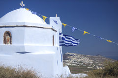 Santorini-Kirche Stockfotos