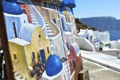 Santorini konst på konst Fotografering för Bildbyråer