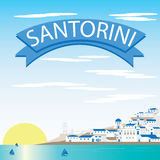 Santorini krajobrazu wektory ilustracji