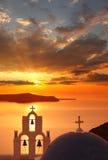 Santorini kyrkor i Fira, Grekland Arkivbilder