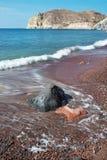 Santorini - la spiaggia rossa Fotografia Stock Libera da Diritti