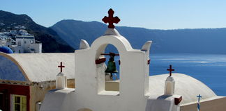 Santorini. Landscape with church in foreground Stock Photos