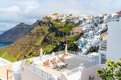 Santorini landscape in Fira, Greece stock photography