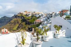 Santorini landscape in Fira, Greece royalty free stock photography