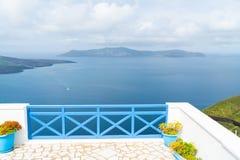 Santorini landscape in Fira, Greece stock photo