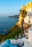 Santorini landscape with view of Aegean Sea, Greece. View of Aegean Sea in Oia, Santorini landscape, Greece stock photos