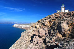 Santorini lighthouse and caldera view Royalty Free Stock Image