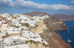Santorini - The look from Oia to east in evening light. Stock Images