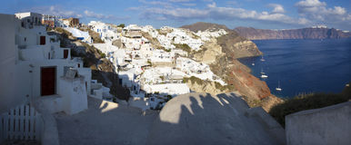 Santorini - The look from Oia to east in evening light. Stock Photos