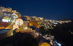 Santorini - look from Oia to east at night. Stock Image