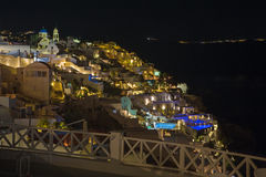 Santorini - The look from Oia to east at night.. Stock Image