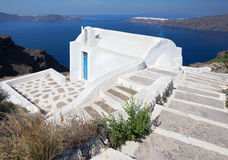 Santorini - The look to tyiycally little church Agios Ioannis Ka Stock Images