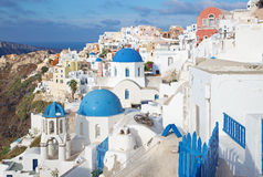 Santorini - The look to typically blue church cupolas in Oia. Santorini - The look to typically blue church cupolas in Oia (Ia Royalty Free Stock Images