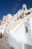 Santorini - The look to typically blue churches cupolas in Oia Royalty Free Stock Images