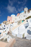 Santorini - The look to typically blue churches cupolas in Oia Stock Photos