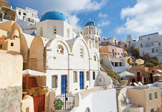 Santorini - The look to typically blue-white church in Oia. Royalty Free Stock Photos