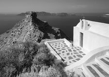Santorini - The look to typically little church Agios Ioannis Katiforis in Imerovigli and the Skaros Royalty Free Stock Image