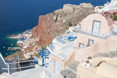 Santorini - look from town down to harbor Amoudi in Oia. Royalty Free Stock Photography