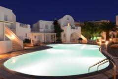 Santorini luxurious resort at night Royalty Free Stock Image