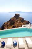 Santorini Luxury Pool at skaros Stock Images