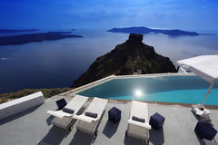 Santorini with luxury swimming pool Stock Photography