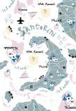 Santorini map Stock Image