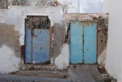 Santorini. Megalochori. 2 doors royalty free stock photos