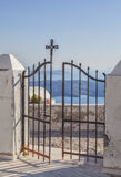 Santorini metal gate Stock Photos