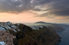 Santorini morning fog royalty free stock image