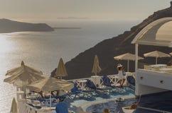 Santorini nahe Sonnenuntergang Lizenzfreie Stockbilder
