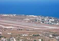Greece, Santorini National Airport, aerial view. Greece. Santorini National Airport from aerial view. This is small greek airport on famous Santorini island. It stock photography