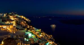 Santorini at Night. Overlooking the Island of Santorini at Night Stock Photos